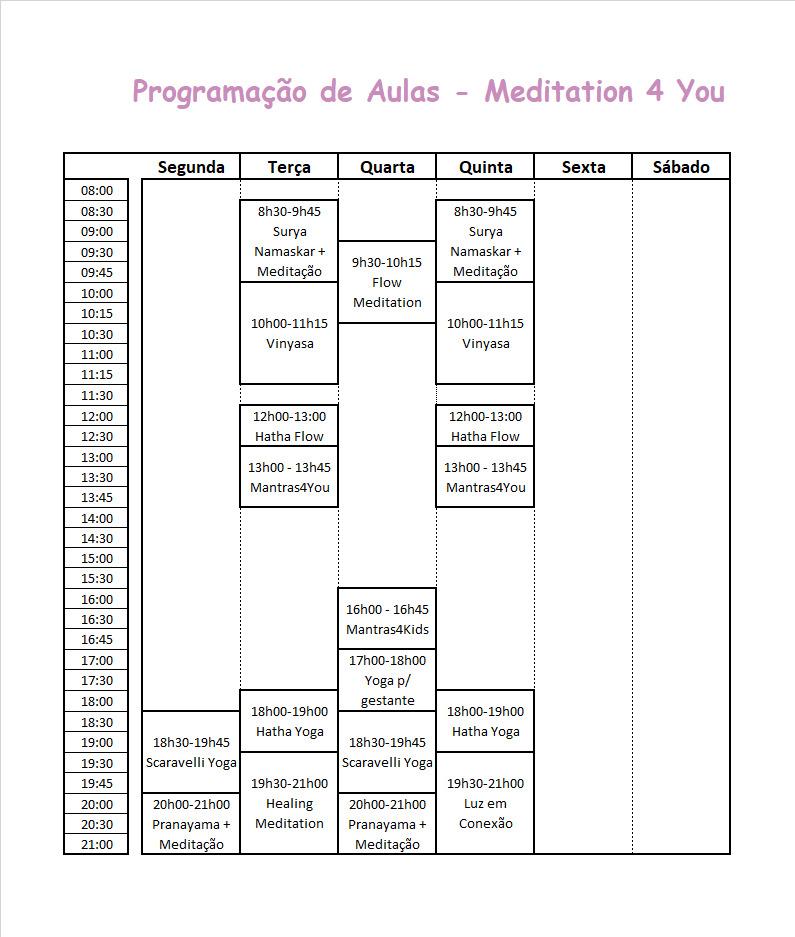 Onde meditar? Agenda Clube Meditation 4 You